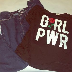 Dirtee Laundry shirt med. & size 9 skinny jeans